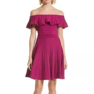 Ted Baker Dilpree Off Shoulder Knit Ruffle Dress